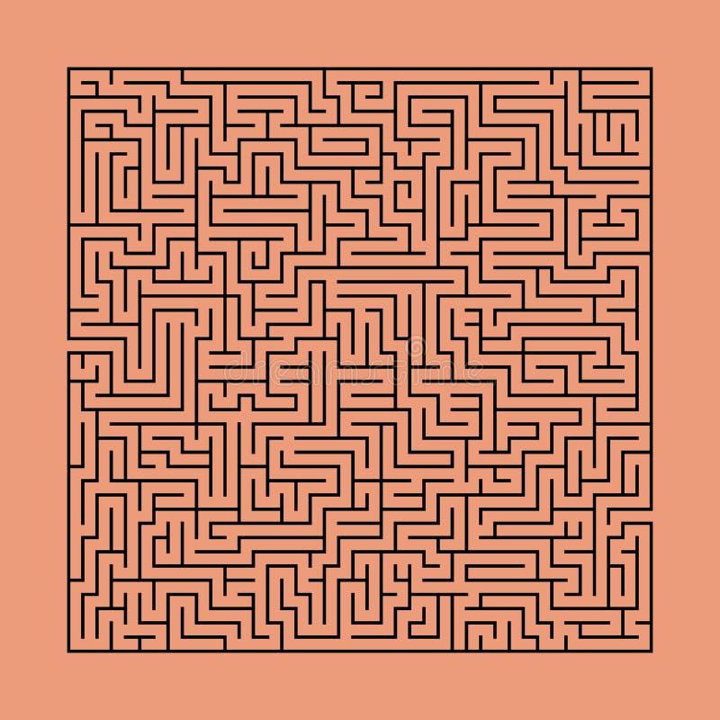 Labirinto quadrado, enigma no fundo alaranjado da cor do tijolo ilustração royalty free