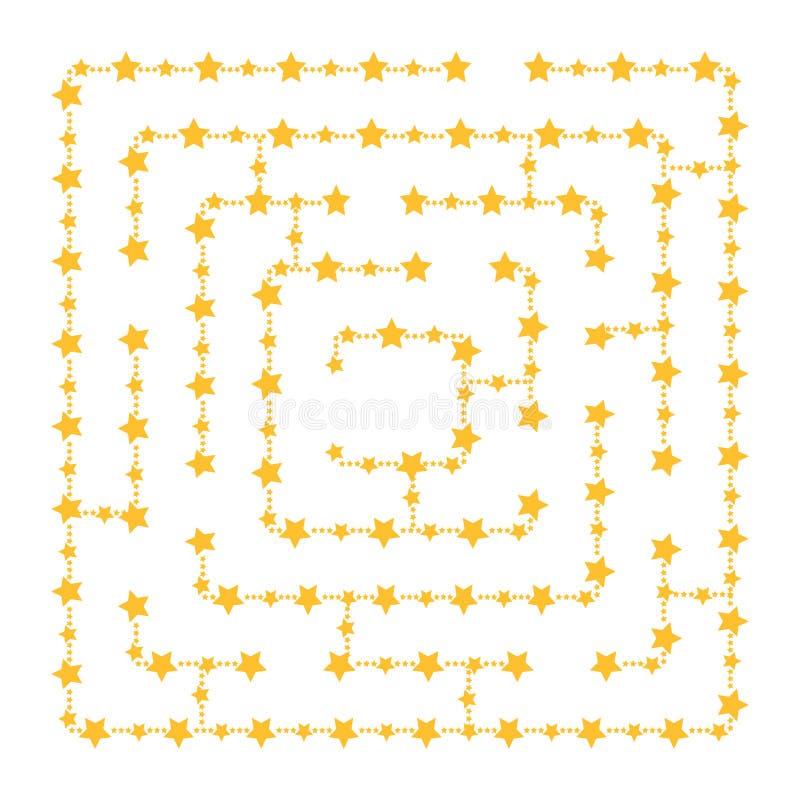 Labirinto quadrado simples - céu estrelado Jogo para miúdos Enigma para crianças Uma entrada, uma saída Enigma do labirinto Vetor ilustração stock