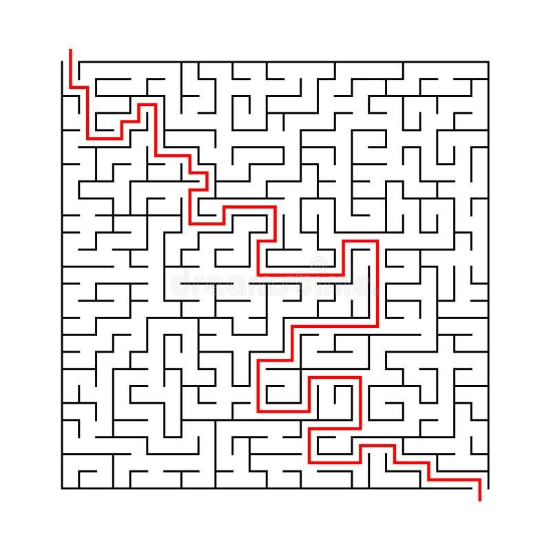 Labirinto quadrato con l'entrata e l'uscita puzzle del labirinto del gioco di vettore con la soluzione immagine stock