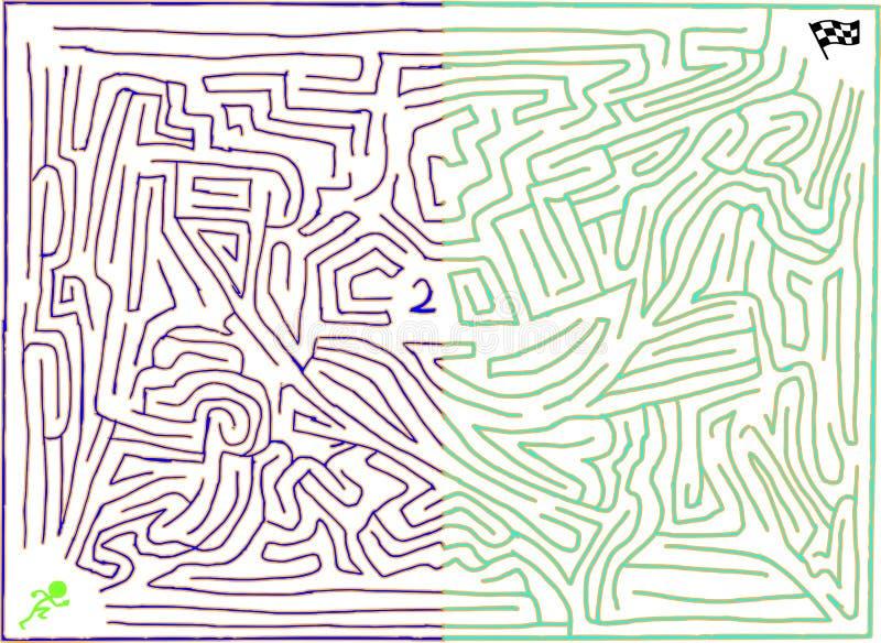 Labirinto recarregado número dois, com coloração gêmea do tom ilustração royalty free