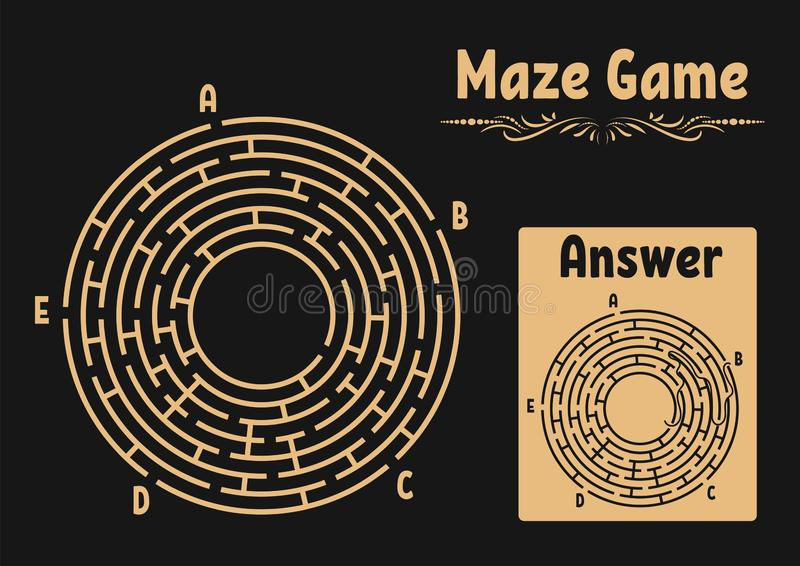 Labirinto redondo abstrato Jogo para miúdos Enigma para crianças Enigma do labirinto Ilustração lisa do vetor isolada no backgrou ilustração royalty free