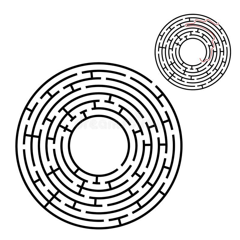 Labirinto redondo abstrato Jogo para miúdos Enigma para crianças Uma entrada, uma saída Enigma do labirinto Ilustração lisa do ve ilustração do vetor