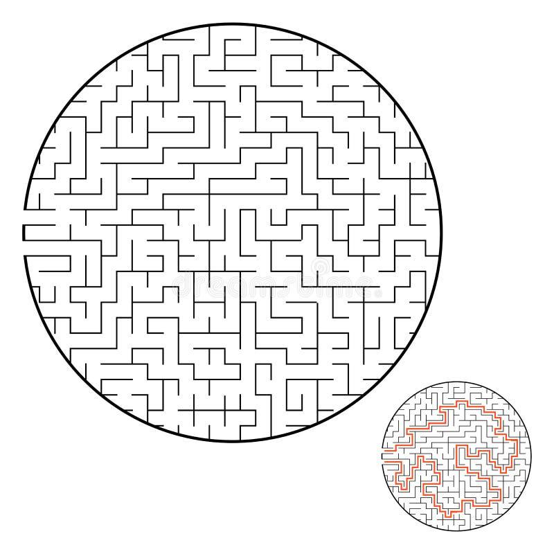 Labirinto redondo difícil Jogo para miúdos Enigma para crianças Uma entrada, uma saída Enigma do labirinto Ilustração lisa do vet ilustração stock
