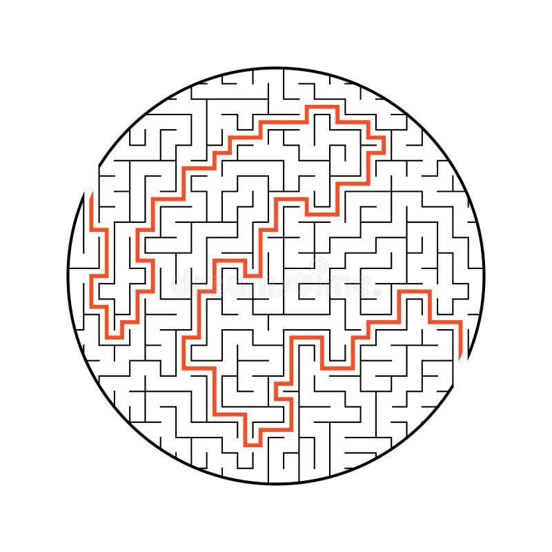 Labirinto redondo difícil Jogo para miúdos Enigma para crianças Uma entrada, uma saída Enigma do labirinto Ilustração lisa do vet ilustração royalty free