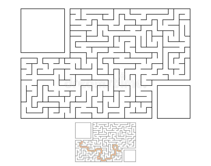 Labirinto retangular abstrato Jogo para miúdos Enigma para crianças Enigma do labirinto Ilustração lisa do vetor isolada no branc ilustração royalty free
