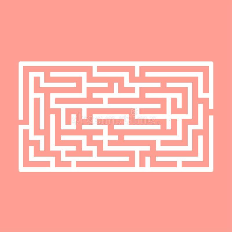 Labirinto retangular abstrato Jogo para miúdos Enigma para crianças Uma entrada, uma saída Enigma do labirinto Vetor liso ilustração stock
