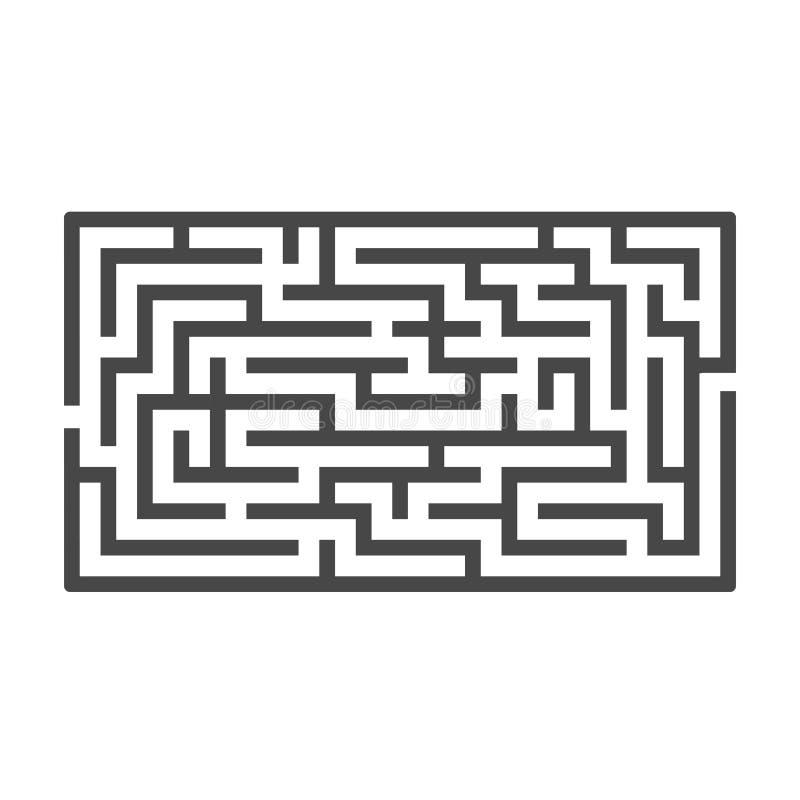Labirinto retangular abstrato Jogo para miúdos Enigma para crianças Uma entrada, uma saída Enigma do labirinto Vetor liso ilustração royalty free