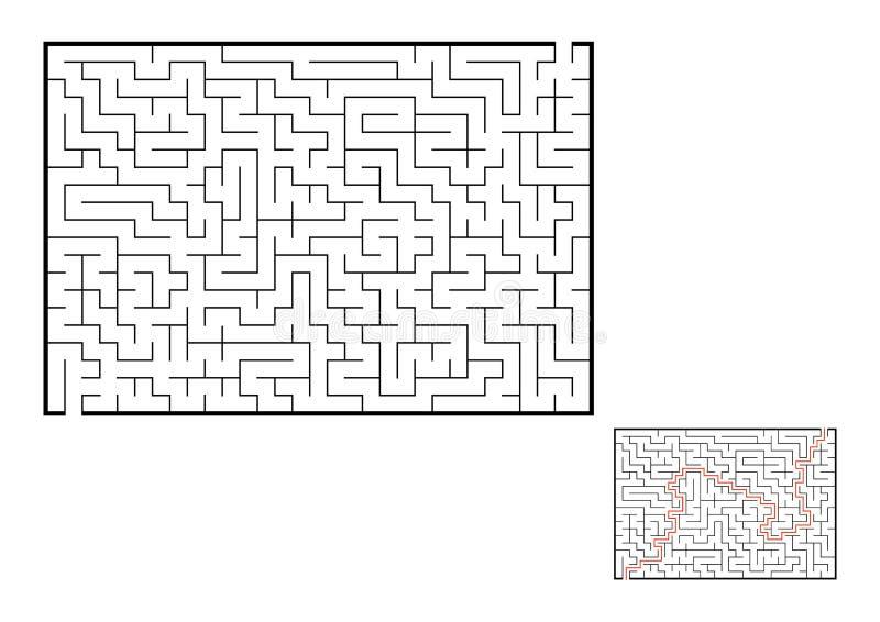 Labirinto retangular abstrato Jogo para miúdos Enigma para crianças Uma entrada, uma saída Enigma do labirinto Vetor liso ilustração do vetor