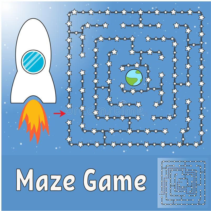 Labirinto simples Ajude o foguete a encontrar sua maneira à terra Jogo para miúdos Enigma para crianças Enigma do labirinto Illus ilustração stock