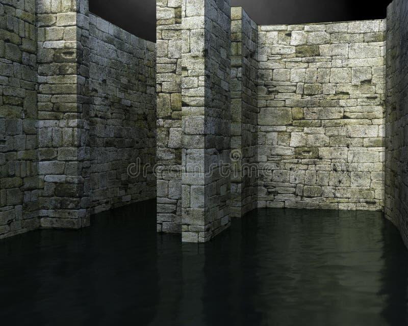 Labirinto surreale, fondo dell'acqua, il pericolo fotografia stock libera da diritti