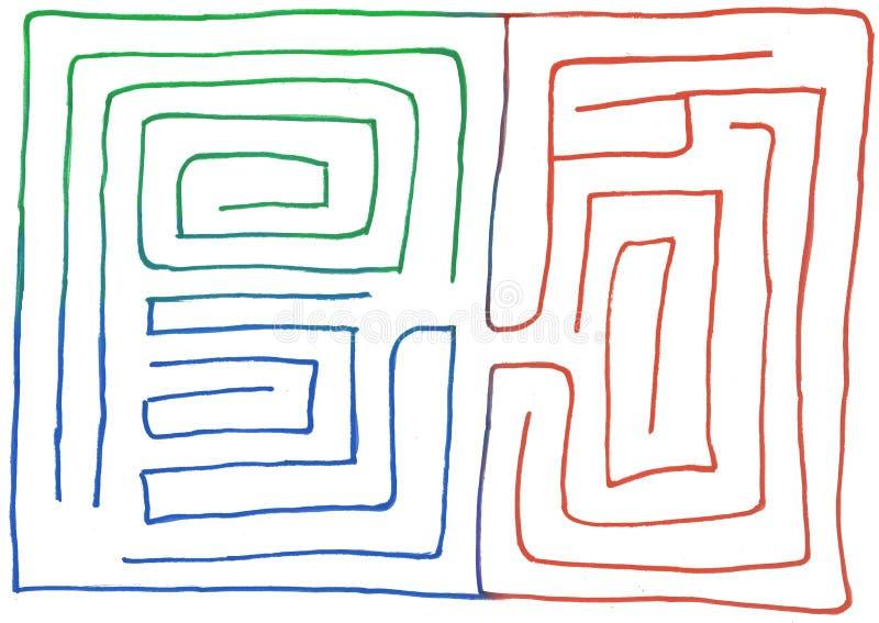 Labirinto tirado m?o n?mero tr?s, gr?fico de vetor ilustração do vetor