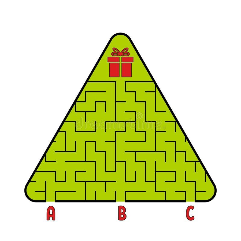 Labirinto triangolare astratto Albero di Natale con un regalo Trovi il percorso giusto Gioco per i bambini Puzzle per i bambini C illustrazione vettoriale