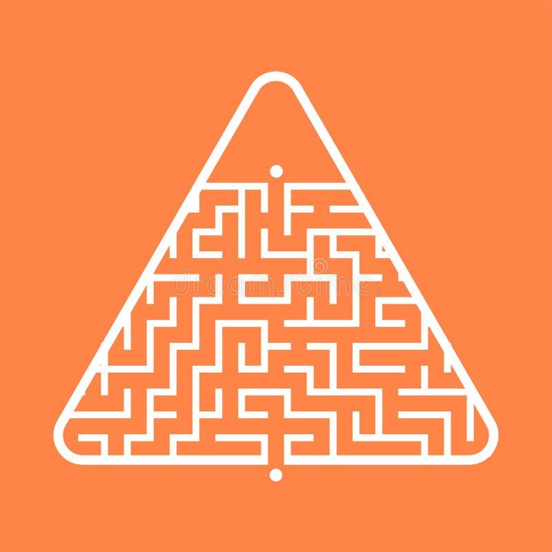 Labirinto triangular abstrato Jogo para miúdos Enigma para crianças Uma entrada, uma saída Enigma do labirinto Vetor liso ilustração royalty free