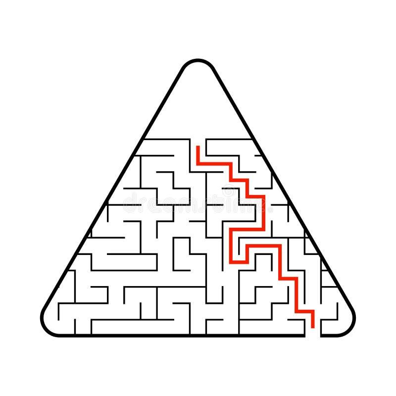 Labirinto triangular abstrato Jogo para miúdos Enigma para crianças Uma entrada, uma saída Enigma do labirinto Vetor liso ilustração stock