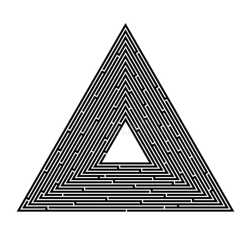 Labirinto triangular em um fundo branco, pirâmide, busca para uma saída, solução ilustração stock