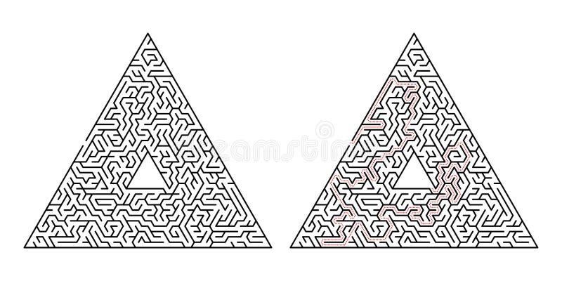 Labirinto triangular Labirinto isolado em um fundo branco A solução é feita na linha pontilhada do vermelho ilustração do vetor