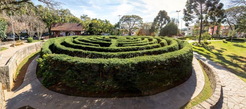 Labirinto verde da conversão do labirinto & x28; Labirinto Verde& x29; no quadrado principal - Nova Petropolis, Rio Grande do Sul imagem de stock