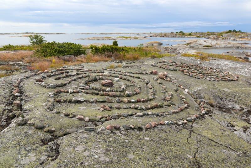 Arquipélago de pedra de Fredlarna dos labirintos imagens de stock