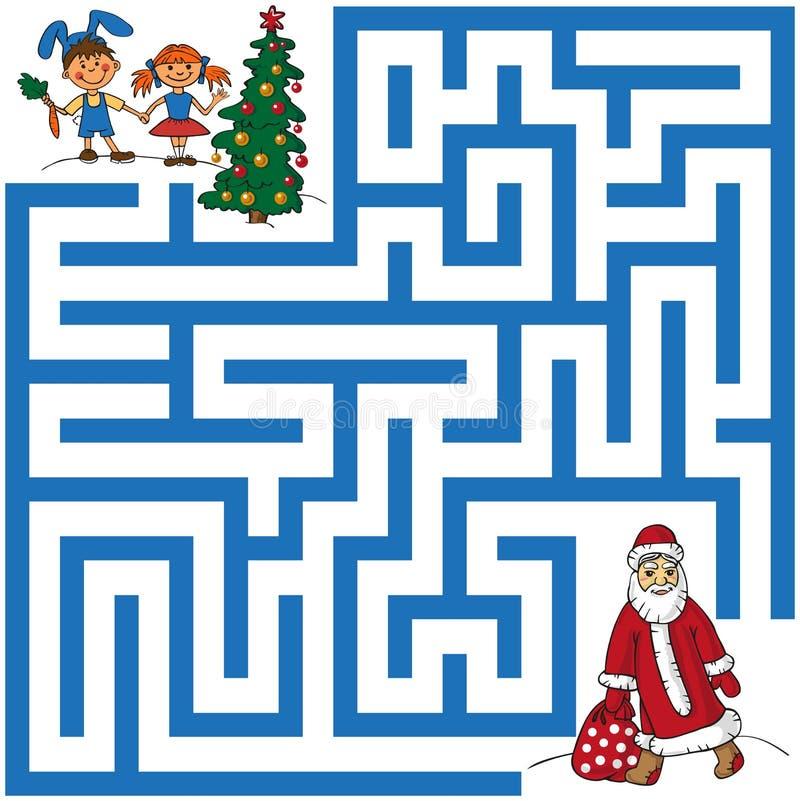 Labirynt Święty Mikołaj i choinka ilustracja wektor