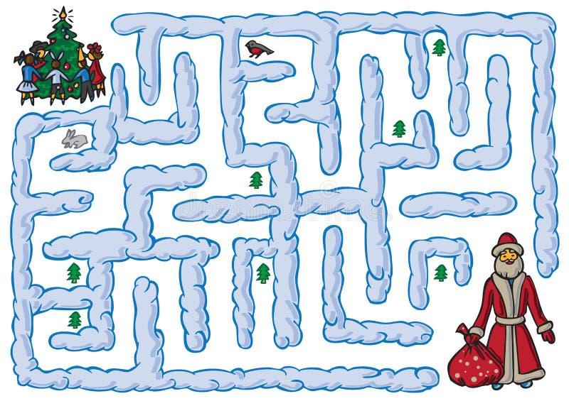 Labirynt Święty Mikołaj i nowy rok ilustracji
