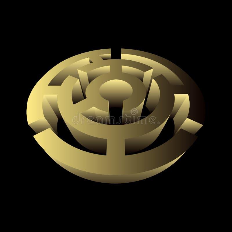 Labirynt 3d łamigłówki gry kółkowy wolumetryczny złoto ilustracji