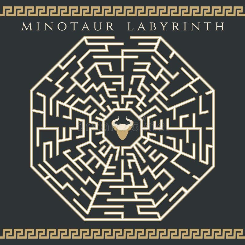 Labirynt enigma z minotaur ikoną ilustracja wektor