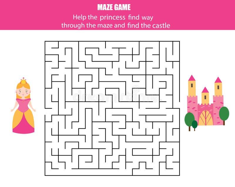 Labirynt gra dla dzieci: bajka temat ilustracja wektor