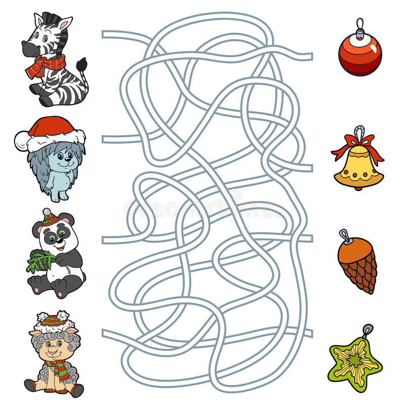 Labirynt gra dla dzieci: mali zwierzęta i Bożenarodzeniowe dekoracje royalty ilustracja