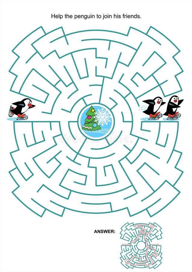 Labirynt gra dla dzieciaków - jeździć na łyżwach pingwiny ilustracji