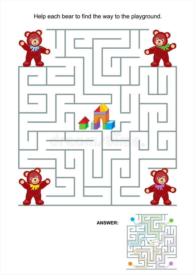 Labirynt gra dla dzieciaków - misie royalty ilustracja