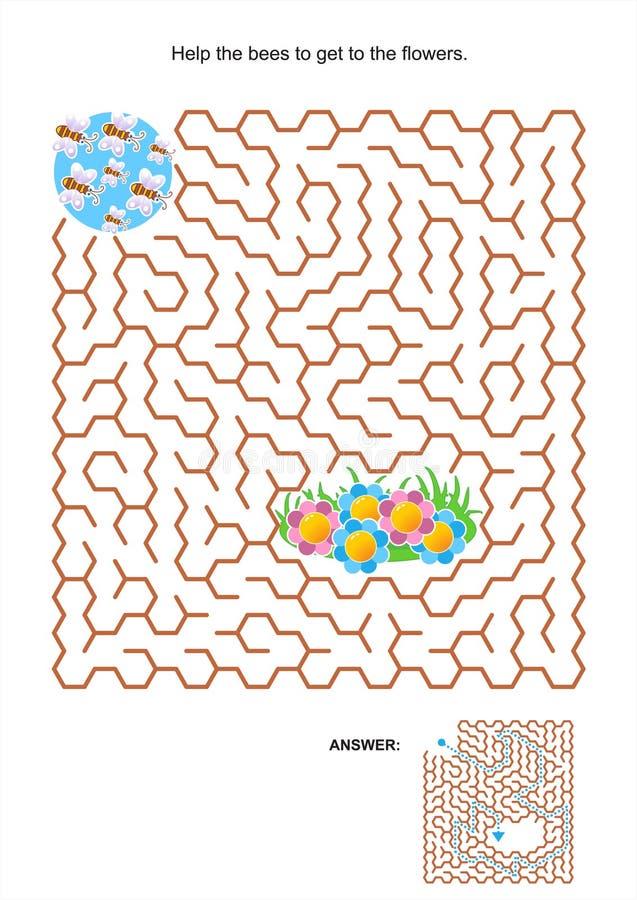 Labirynt gra dla dzieciaków - pszczoły i kwiaty ilustracji