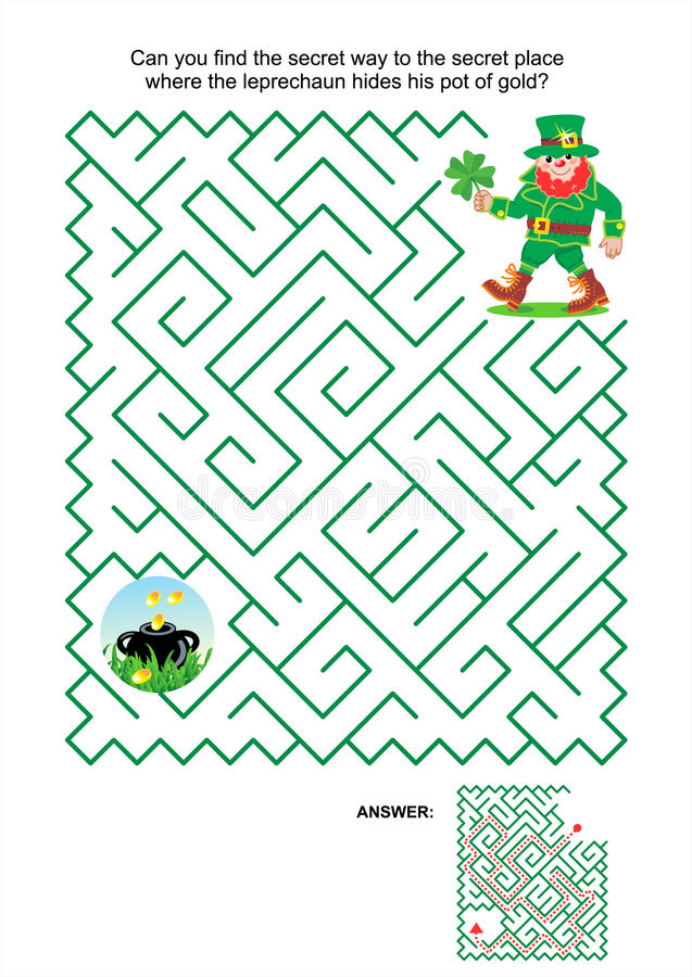 Labirynt gra - leprechaun i garnek złoto ilustracji