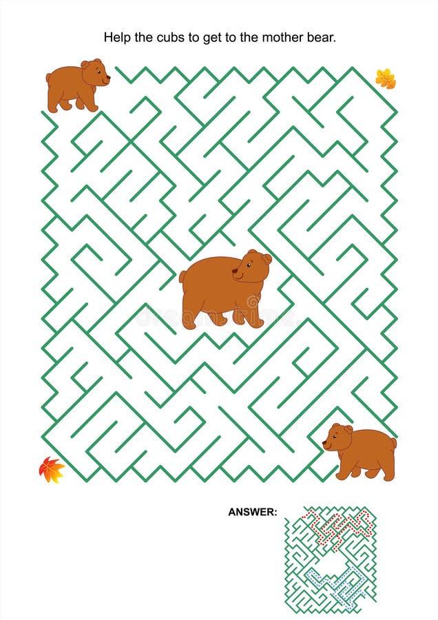 Labirynt gra macierzysty niedźwiadkowa i jej lisiątka - royalty ilustracja
