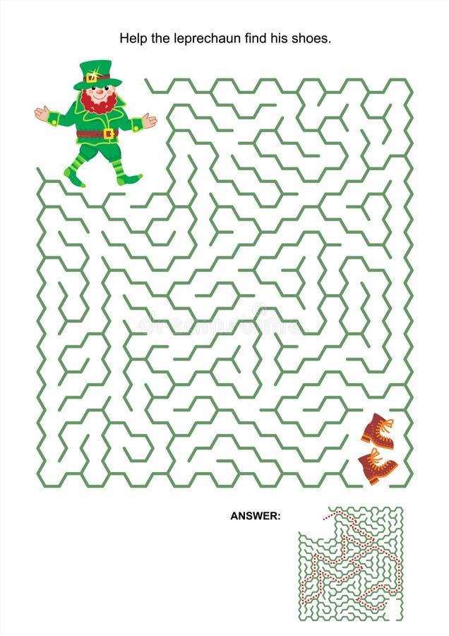 Labirynt gra - pomaga leprechaun znajdować jego buty royalty ilustracja