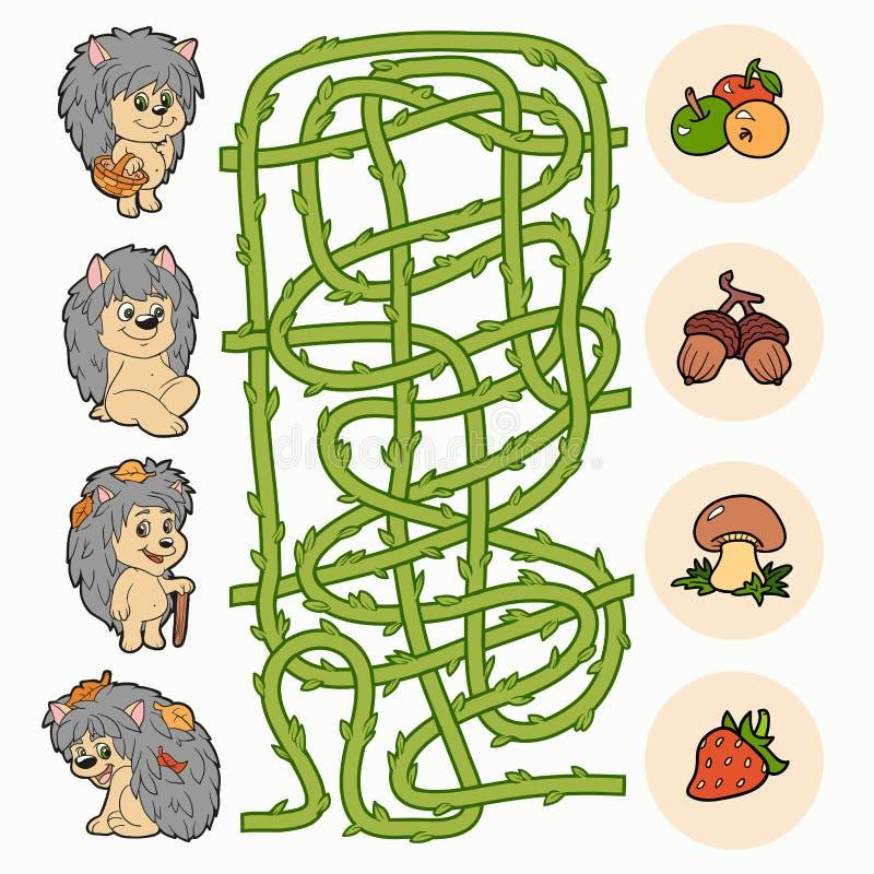 Labirynt gra: Pomoc jeże znajdować jedzenie ilustracji