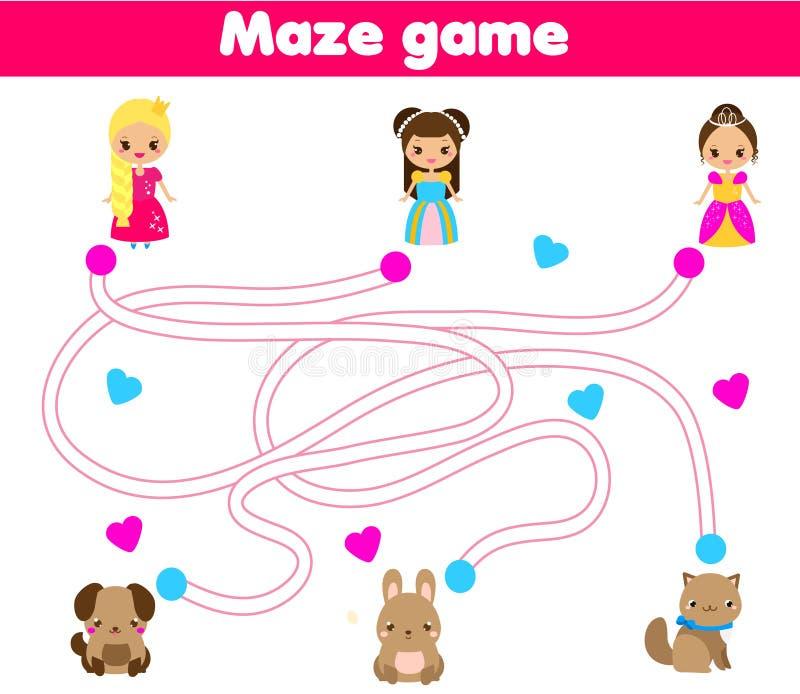 Labirynt gra Pomocy princess znaleziska zwierzę domowe Aktywność dla dzieci i dzieciaków ilustracja wektor