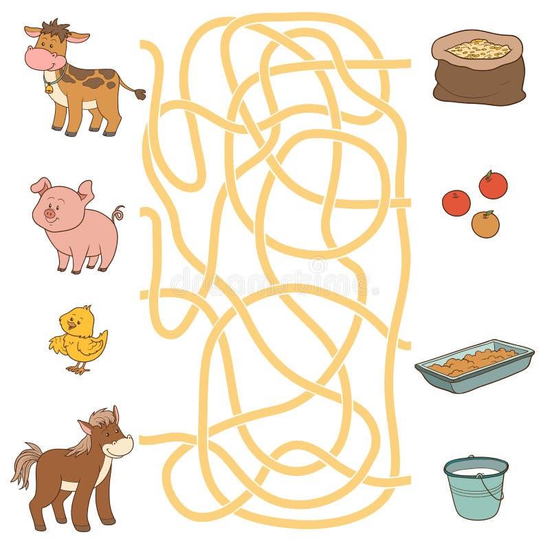 Labirynt gra (zwierzęta gospodarskie i jedzenie) Krowa, świnia, kurczak, koń ilustracja wektor
