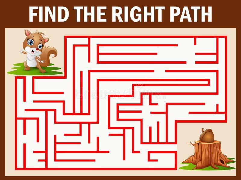 Labirynt gry znaleziska wiewiórczy spacer daleko od orzech włoski royalty ilustracja