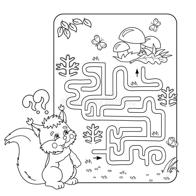 Labirynt lub labitynt gra dla Preschool dzieci Łamigłówka Barwić strona kontur ilustracji