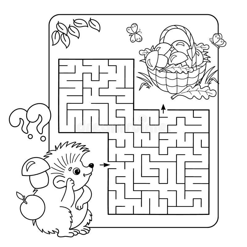 Labirynt lub labitynt gra dla Preschool dzieci Łamigłówka Barwić strona kontur royalty ilustracja