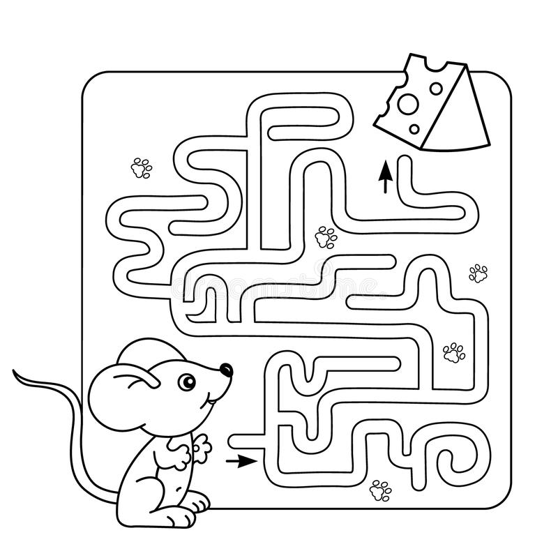 Labirynt lub labitynt gra dla Preschool dzieci Łamigłówka Barwić strona kontur mała mysz z serem royalty ilustracja