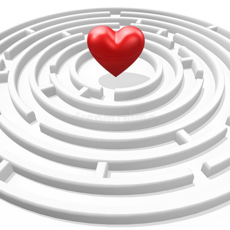 labirynt serca czerwone. ilustracji