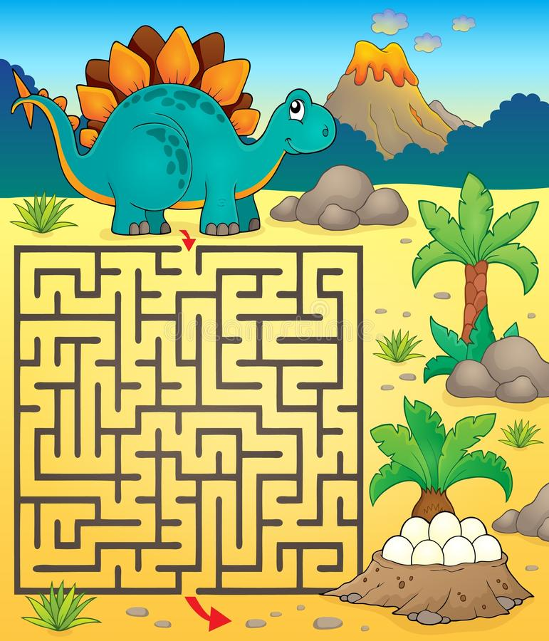 Labirynt 3 z dinosaura tematem 1 ilustracja wektor