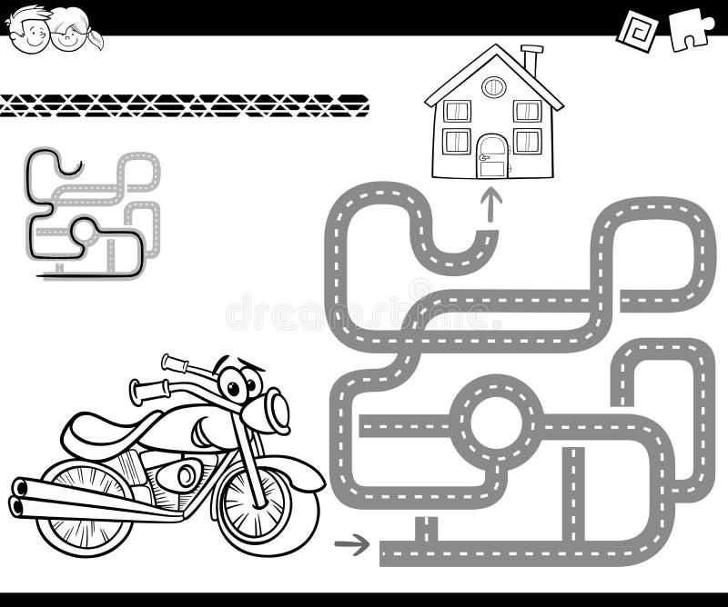 Labirynt z rowerem dla barwić ilustracji
