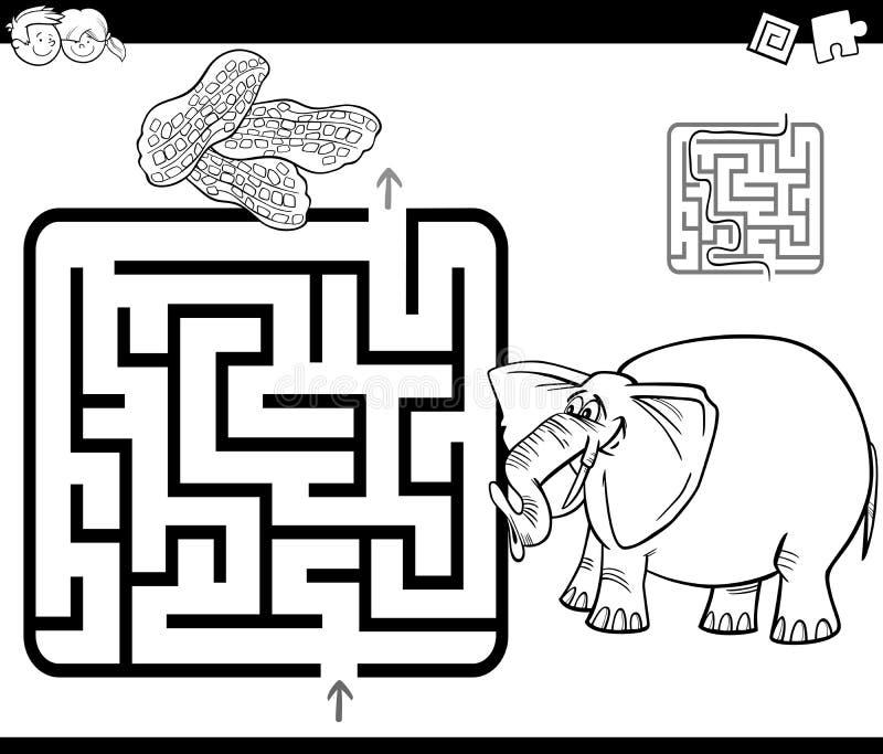 Labirynt z słoń kolorystyki stroną royalty ilustracja