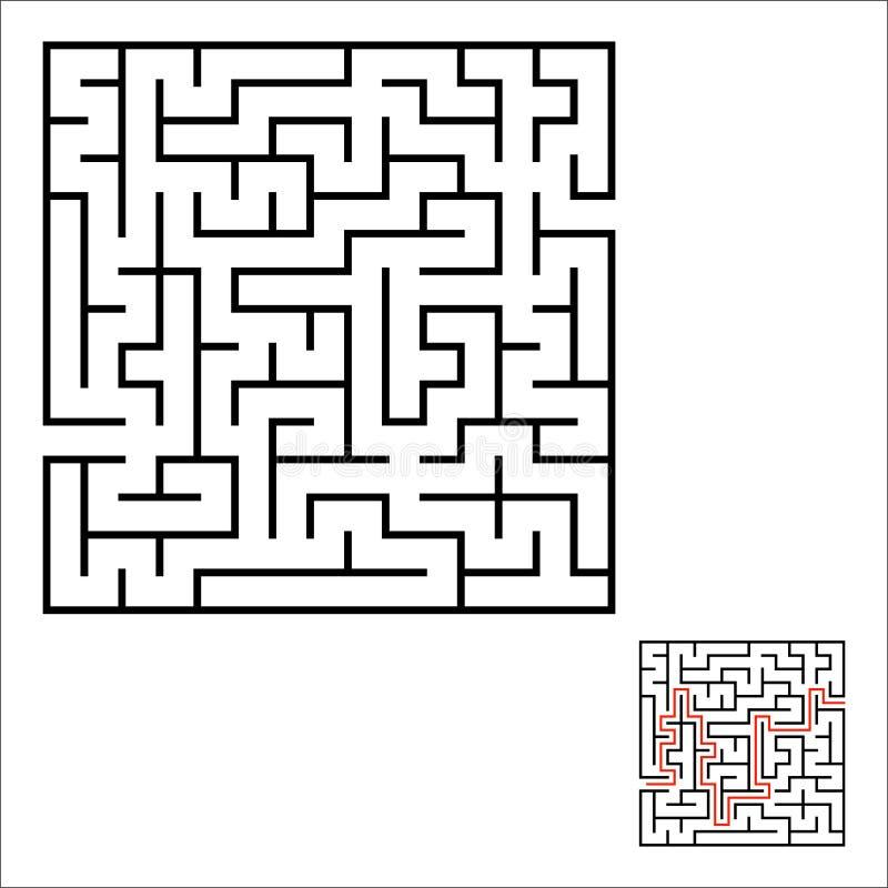labiryntu abstrakcjonistyczny kwadrat gemowi dzieciaki Łamigłówka dla dzieci Jeden wejście, jeden wyjście Labitynt zagadka Prosty ilustracja wektor
