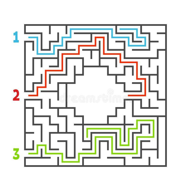 labiryntu abstrakcjonistyczny kwadrat gemowi dzieciaki Łamigłówka dla dzieci Trzy wejścia, jeden wyjście Labitynt zagadka Płaska  ilustracji