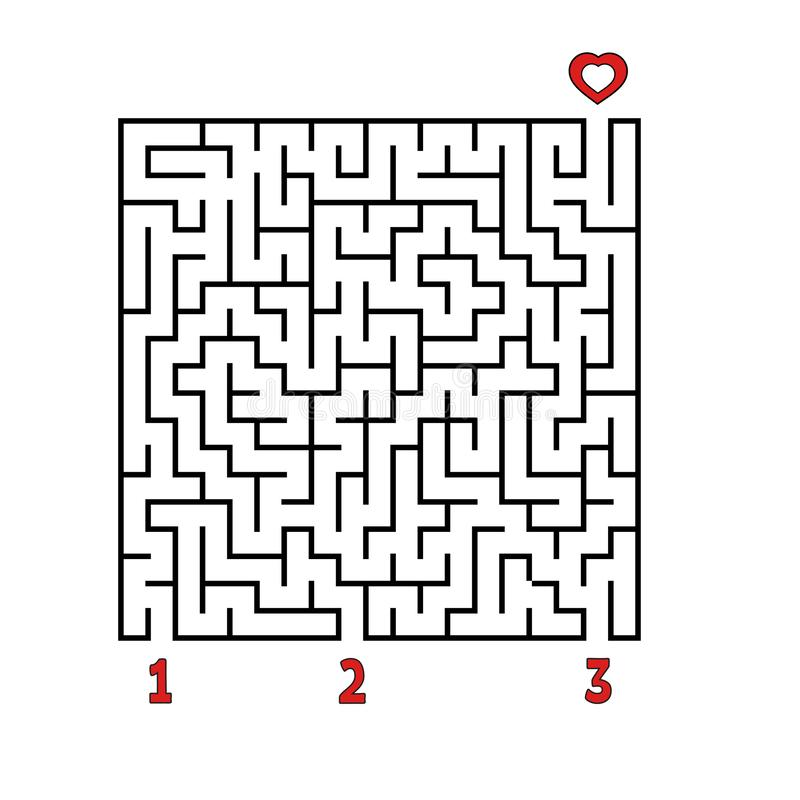 labiryntu abstrakcjonistyczny kwadrat gemowi dzieciaki Łamigłówka dla dzieci Znajduje prawą ścieżkę serce Labitynt zagadka Płaski ilustracja wektor