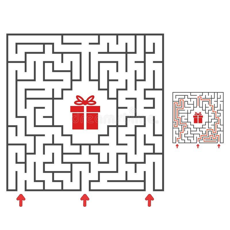 labiryntu abstrakcjonistyczny kwadrat Znajduje ścieżkę prezent gemowi dzieciaki Łamigłówka dla dzieci Labitynt zagadka Płaska wek royalty ilustracja