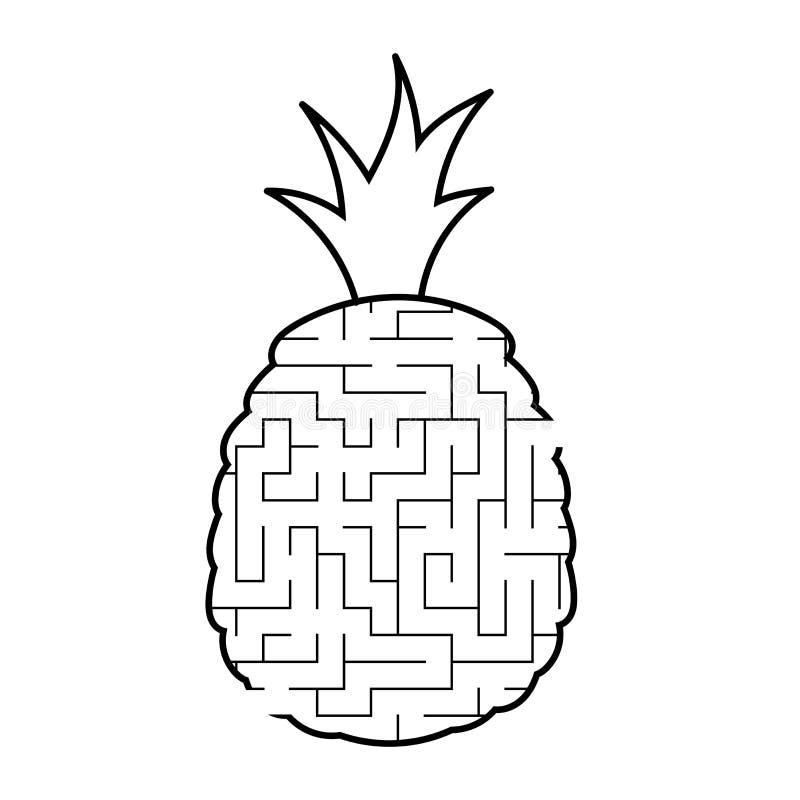 Labiryntu ananas gemowi dzieciaki Łamigłówka dla dzieci Kreskówka styl Labitynt zagadka Czarny i biały wektorowa ilustracja _ ilustracja wektor